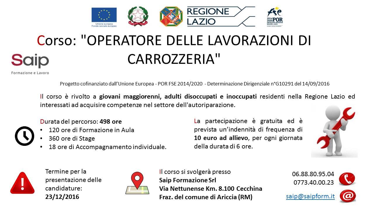 Lavoro facile corso per operatori di carrozzeria for Corso carrozziere